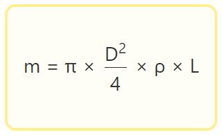 Формула для расчета массы прутка арматуры