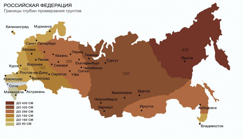 Глубина промерзания грунта в России